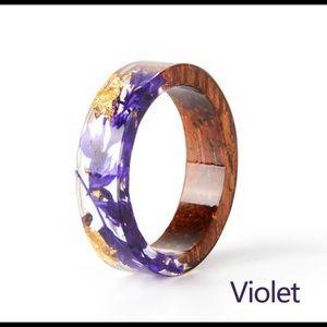 Violet & Gold Wood Resin Ring Size 7